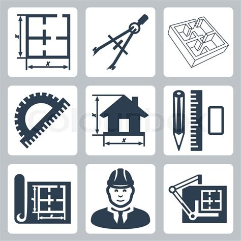 icon design layout vector building design icons set layout pair of