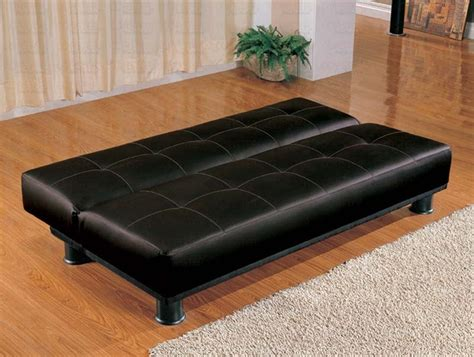 black vinyl futon black vinyl sofa bed by coaster 300163