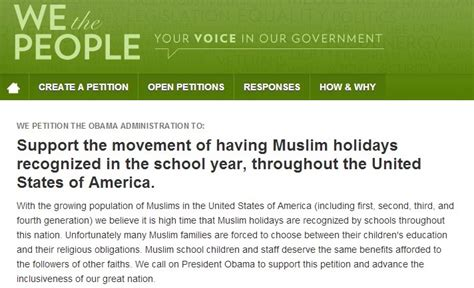 petitions white house the problem with petitions for muslim school holidays and otherwise