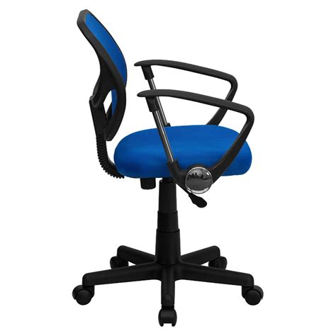 Swivel Task Chair Low Back Arms Blue Dcg Stores Swivel Task Chair