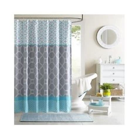 grey and aqua curtains aqua geometric shower curtain teal blue grey bathroom