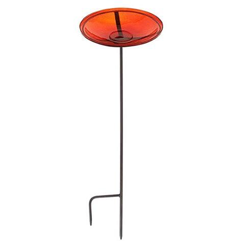 duncraft com red glass bird bath stand