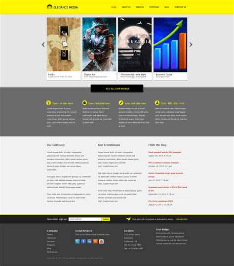 Clean Business Website Template Psd Graphicsfuel Photoshop Website Templates