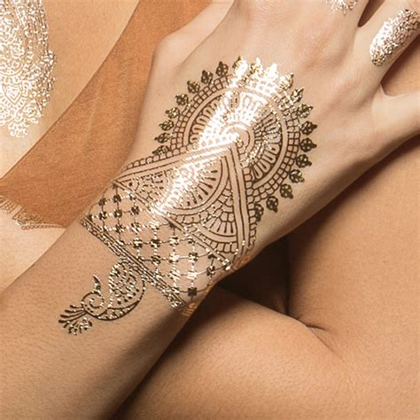 gold red hamsas metallic temporary tattoos tattify
