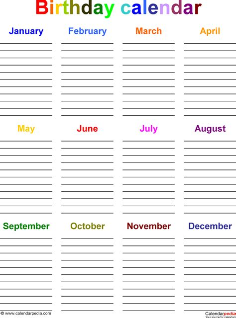 Template 5 excel template for birthday calendar in color portrait