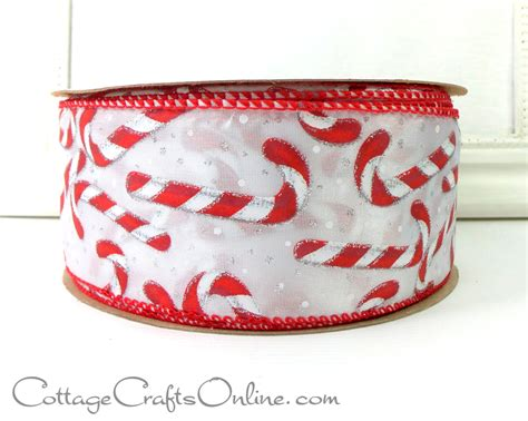 christmas wired ribbon 2 1 2 wide candy canes silver