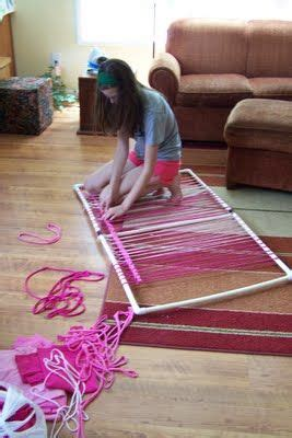 weave it rug loom make a rug loom with pvc pipe weave around top bottom and sides of pvc to keep the weaving from