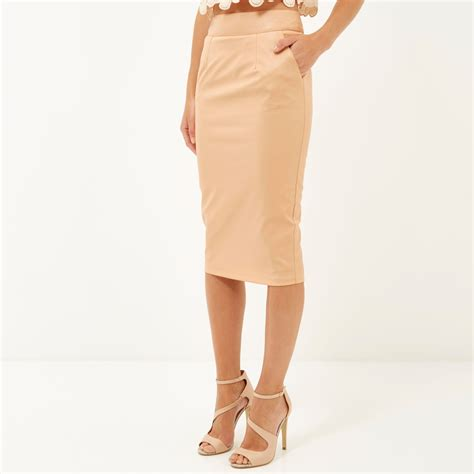 river island leather look pencil skirt in beige lyst
