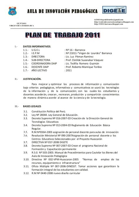 plan de tutoria de inicial 2016 plan anual de trabajo del aula de innovaci 211 n pedag 211 gica