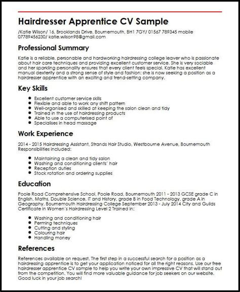 cv template for school leaver with no work experience hairdresser apprentice cv sle myperfectcv