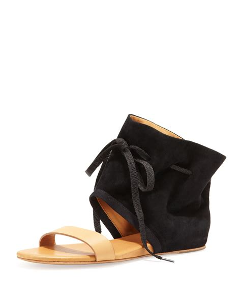 ankle cuff sandals flat see by chlo 233 ankle cuff flat sandal in black lyst
