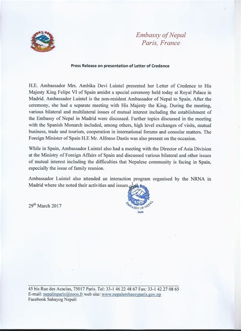 Nepal Embassy Letter press release issued by embassy of nepal on