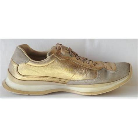 gold athletic shoes prada athletic tennis shoes gold leather taupe suede size