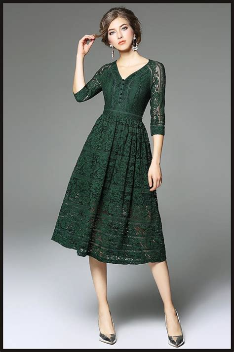 Dress Green 2018 green lace dress 3 4 sleeves v neck a line 2017
