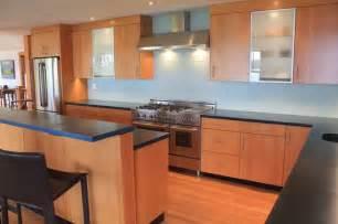 douglas fir kitchen cabinets modern kitchen with douglas fir veneer and concrete counter tops glass subway tile backsplash