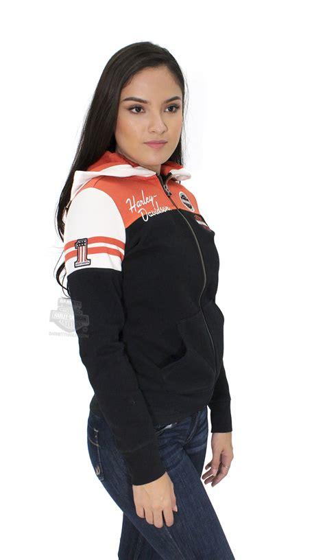 harley davidson womens classic colorblocked bs full zip black long sleeve hoodie