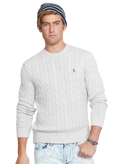 polo ralph cable knit jumper pink pony polo cable knit crew neck jumper in grey for