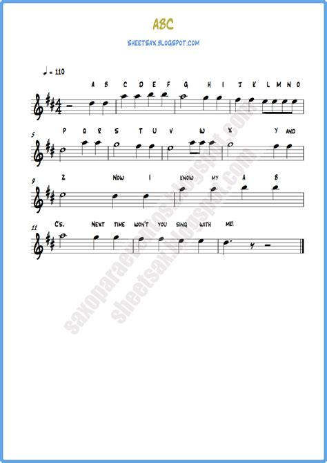 songs free sheet of a b c song children s song score