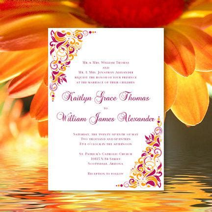 printable wedding invitation quot gianna quot sangria and orange