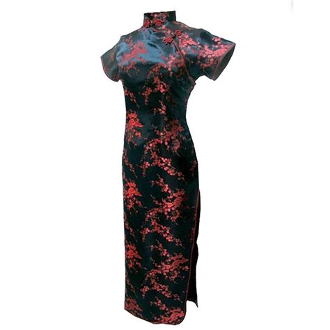 Birds Flower Cheongsam Size L Xl aliexpress buy black traditional dress satin qipao cheongsam