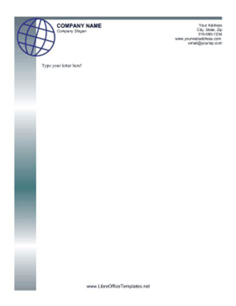 Business Letter Template Libreoffice Globe Letterhead