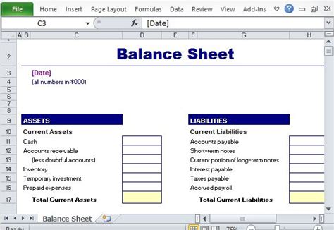 Free Financial Report Templates For Excel Simple Balance Sheet Template