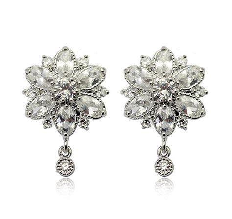 flower design ear studs fine jewelry collection flower shaped diamond earrings