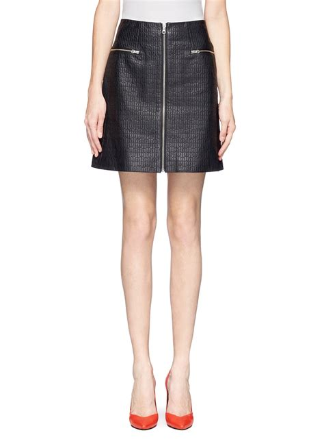 whistles quilted leather skirt in black lyst