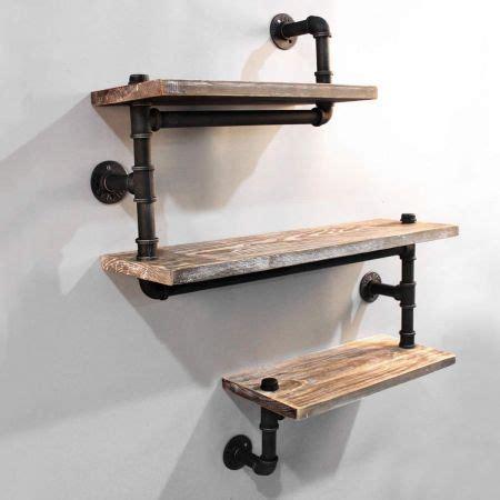 rustic industrial diy floating pipe shelf crazy sales