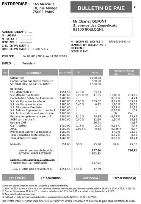 Modele Fiche De Paie President Sasu mod 232 les de fiches de paye 2017 pour un pr 233 sident de sas ou
