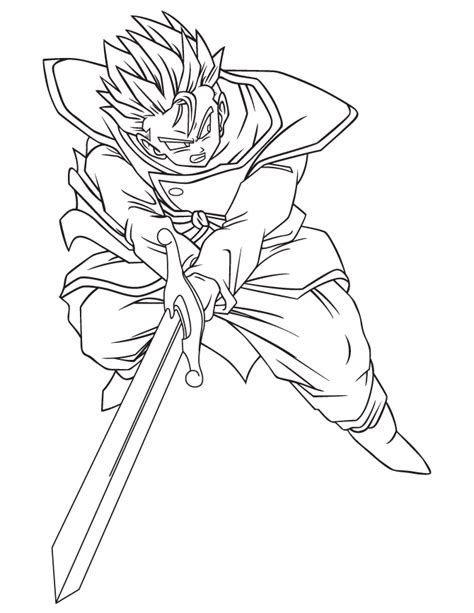 Dragon Ball Character Coloring Page H M Coloring Pages | free coloring pages of trunks and goku gohan