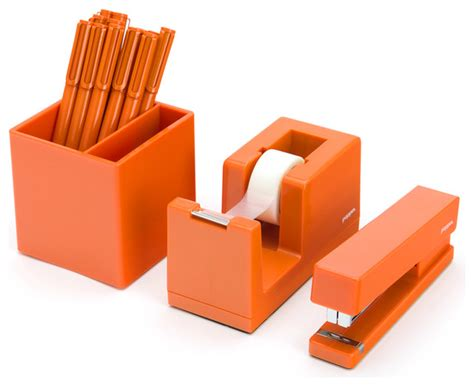 orange desk accessories starter set orange contemporary desk accessories