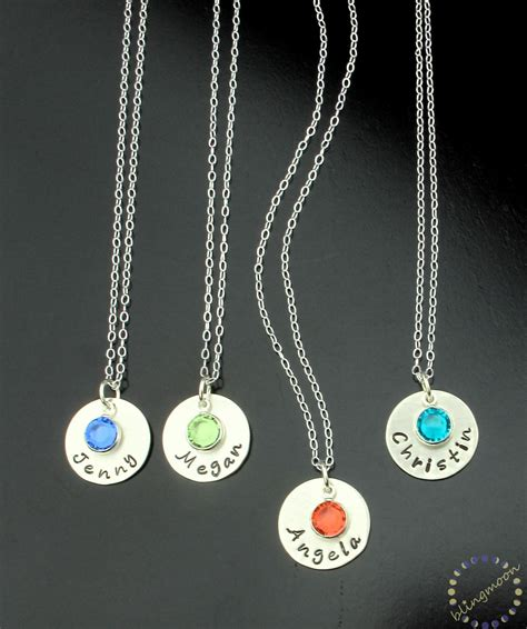 sterling silver necklace birthstone charm personalized