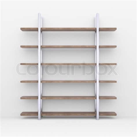 wooden shelves with metal stands 3d rendering on white