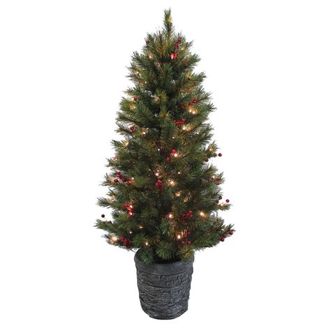 4ft pine pre lit artificial christmas tree with red berries