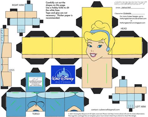 Deviantart Papercraft - dis15 cinderella cubee by theflyingdachshund deviantart