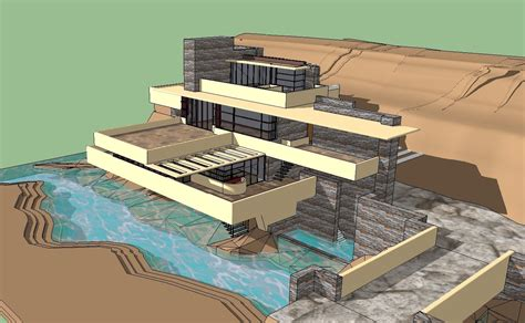 Sketchup Papercraft - sketchup 3d architecture models fallingwater frank lloyd