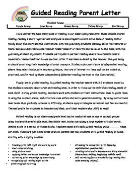 Parent Letter Explaining Guided Reading Guided Reading Parent Letter Bilingual Tpt