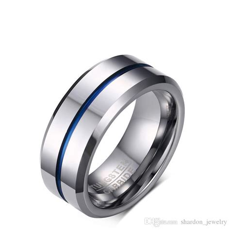 Tungsten Carbide Ring For Classical classic 8mm tungsten carbide ring blue silicone rubber inlay s engagement ring finger bands