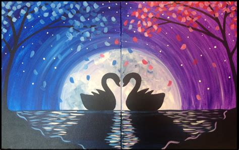 paint nite couples the swan s silhouette date painting
