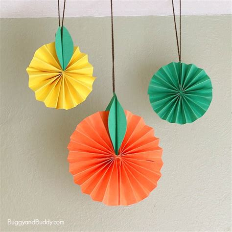 Hanging Paper Crafts - hanging citrus fruit paper craft for buggy and buddy