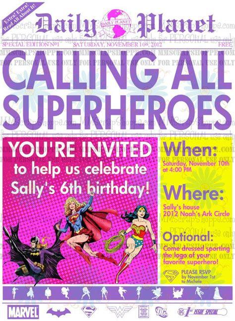 girls superhero newspaper custom printable birthday