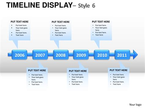 roadmap timeline display style 6 powerpoint presentation