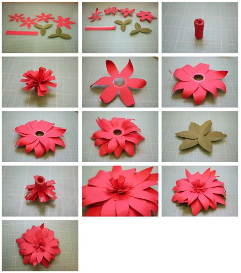 bits of paper fringed and 3d paper flowers