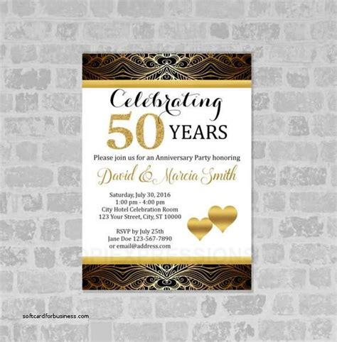 golden anniversary invitations template gold golden