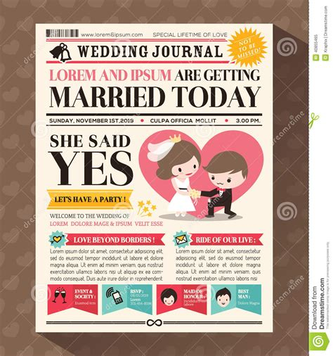 newspaper invitation template newspaper wedding invitation card design stock