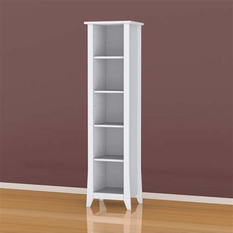 white slim bookcase nexera vice versa collection 60 in slim bookcase white 200203