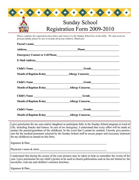 Sunday School Registration Form 2009 2010 Sunday School Pinterest Registration Form And Children S Church Registration Form Template