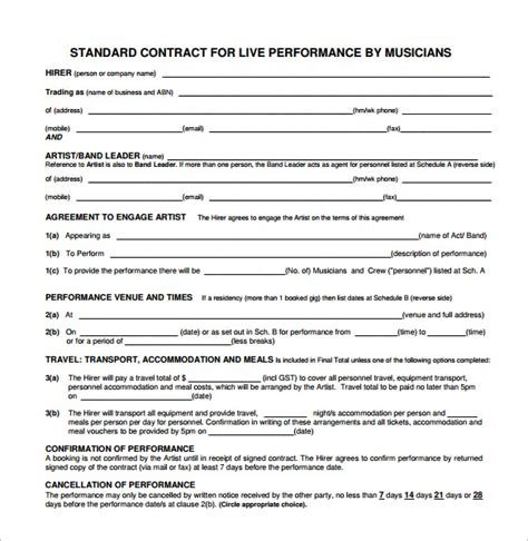 band contract template 17 free sles exles format