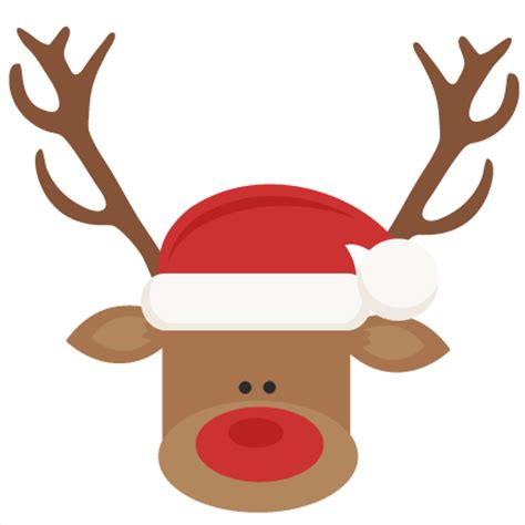reindeer with santa hat svg cutting files for scrapbooking